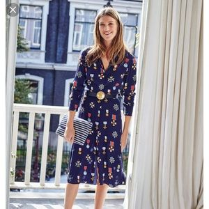 Boden Wrap Dress Sz 6 Medal Print